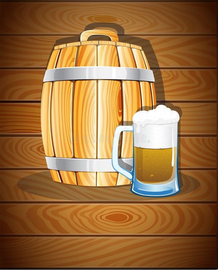 木桶和一杯啤酒 皇族释放例证
