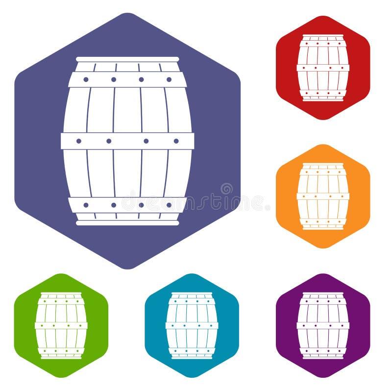 木桶象设置了六角形 库存例证