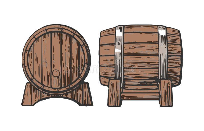 木桶集合板刻例证 库存例证