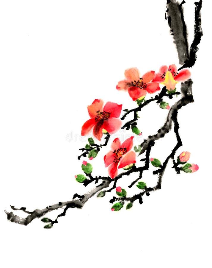 木棉树分支中国墨水手绘画  库存例证