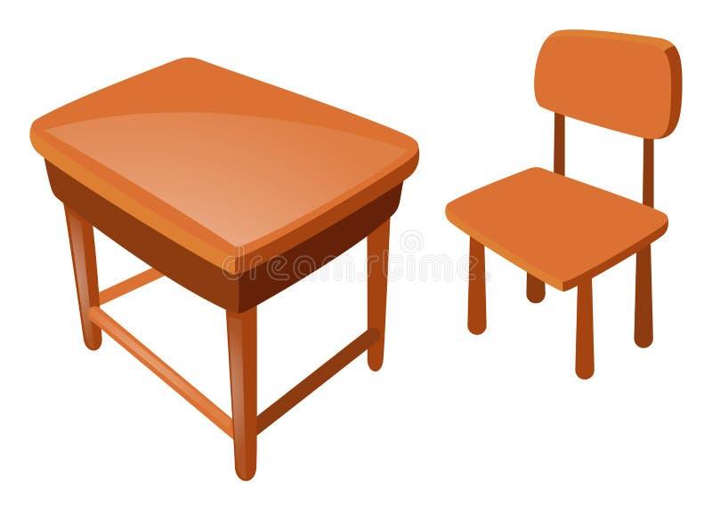 木椅子和桌在白色 库存例证