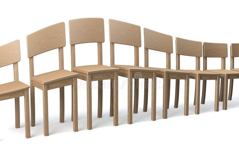 木椅子被变形的行  免版税图库摄影