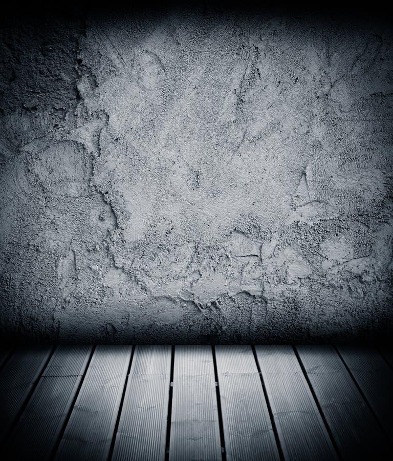 木楼层和混凝土墙织地不很细背景 免版税库存图片