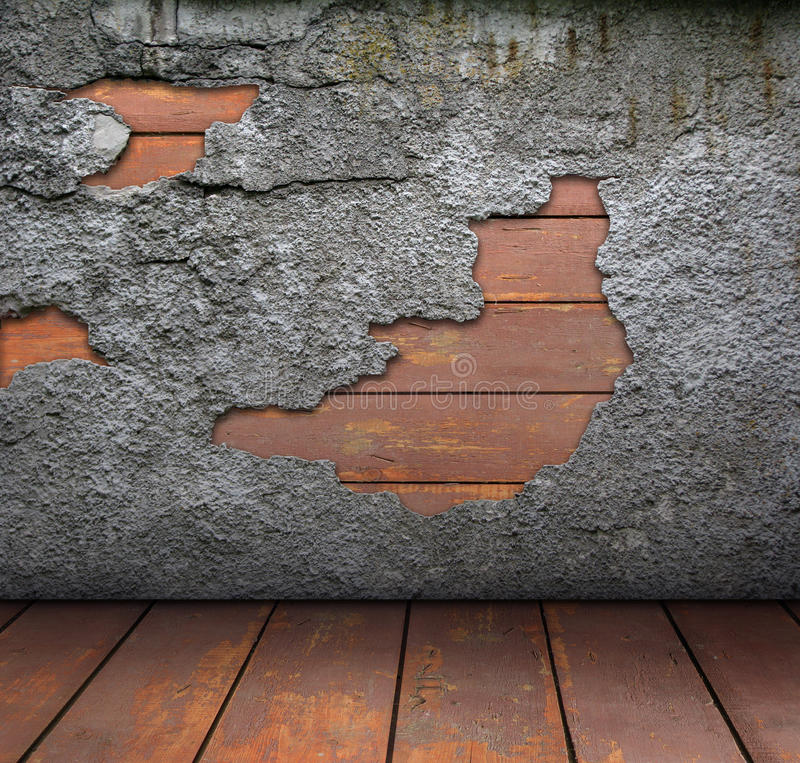 木楼层老褴褛的墙壁 库存照片