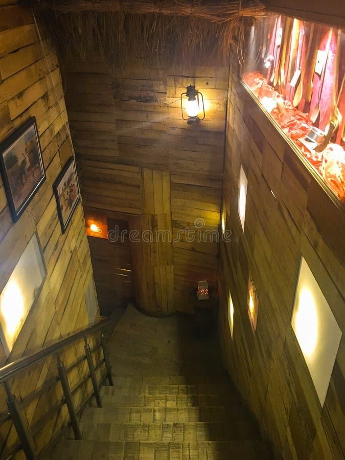 木楼梯室内设计 图库摄影