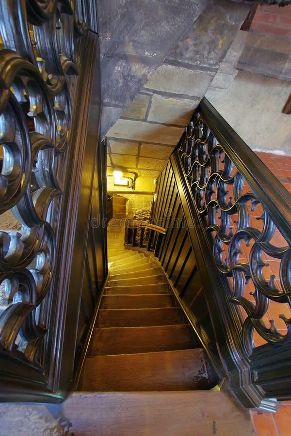 木楼梯 库存图片