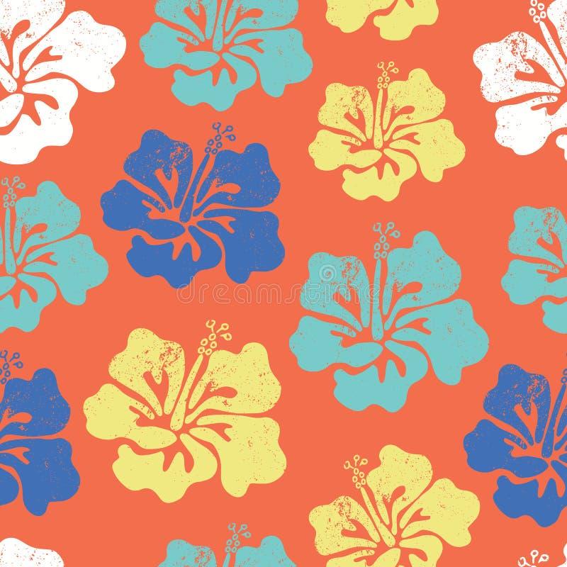木槿开花无缝的传染媒介样式 喂夏威夷衬衣无缝的背景样式 蓝色橙色小野鸭白色热带花卉 皇族释放例证