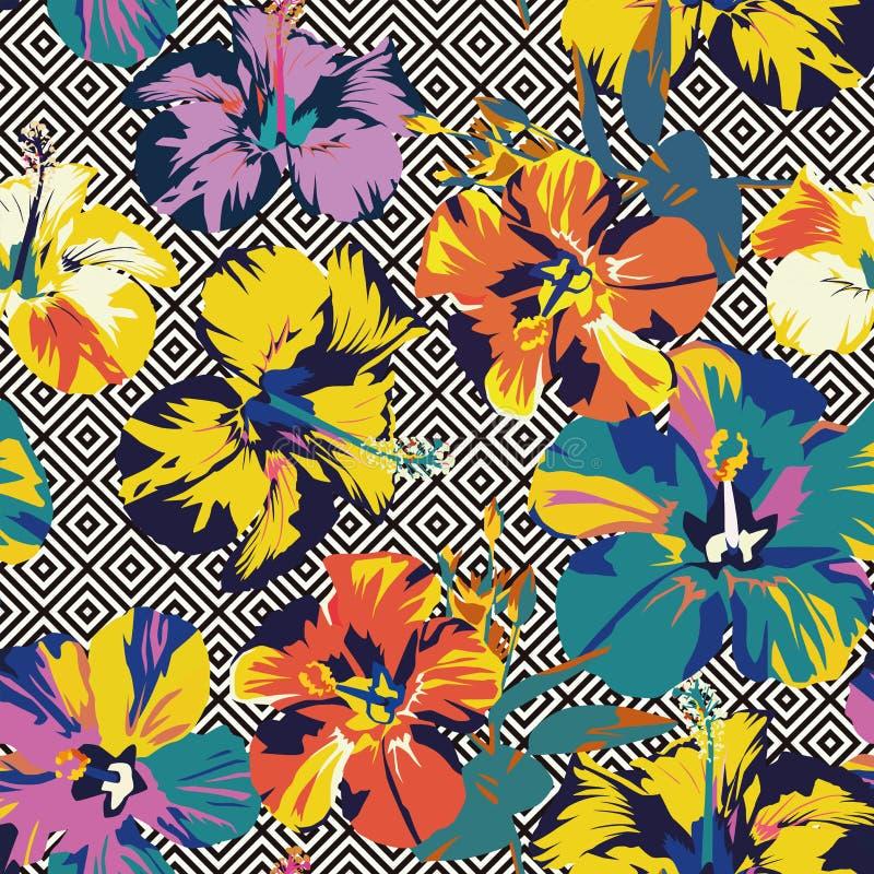 木槿抽象颜色几何无缝的背景 库存例证