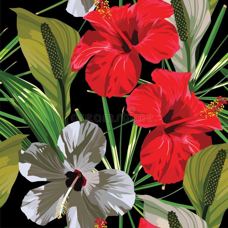 木槿红色白色异乎寻常的花纹花样 向量例证