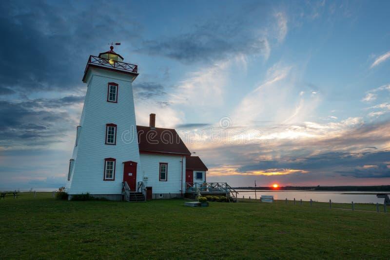 木海岛灯塔在日落的爱德华王子岛 免版税库存图片