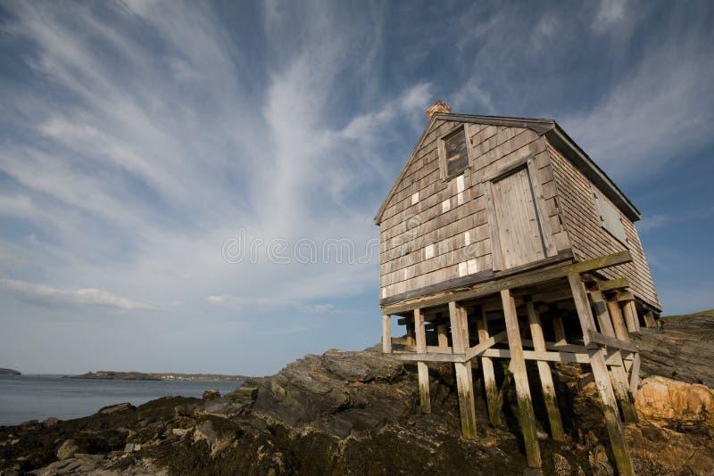 木海滩的棚子 库存图片