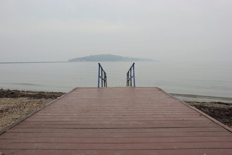 木海滩边路向海去 库存照片