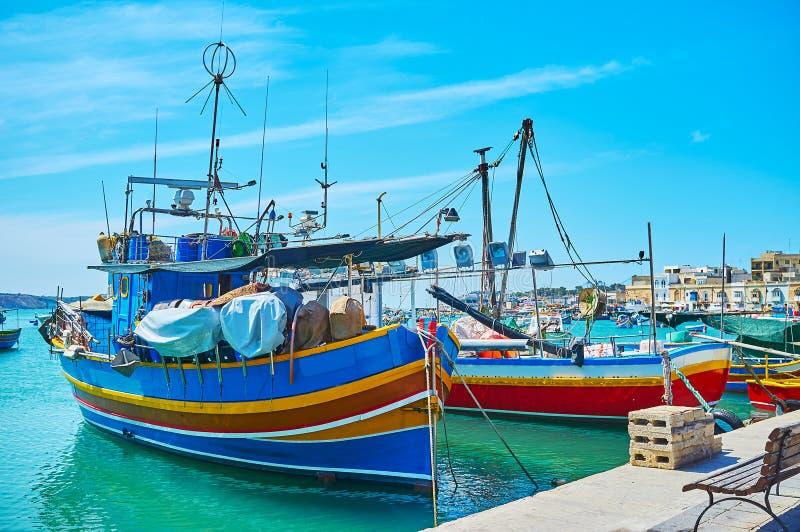 木渔船在马尔萨什洛克 库存照片