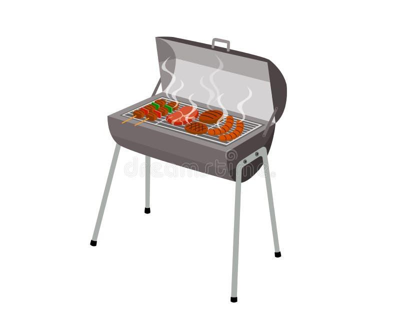 木炭烤的在白色背景隔绝的食物格栅火炉 向量例证