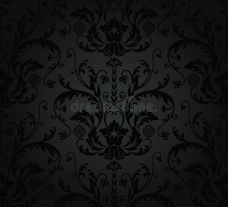 木炭花卉无缝的墙纸 皇族释放例证
