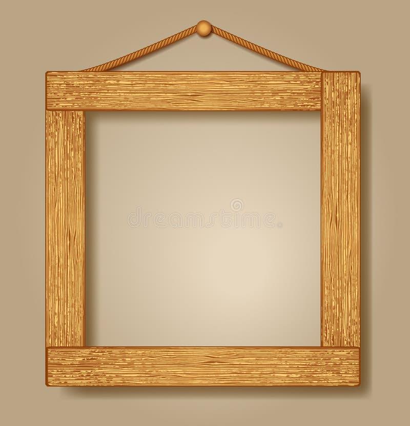 木照片框架 向量例证