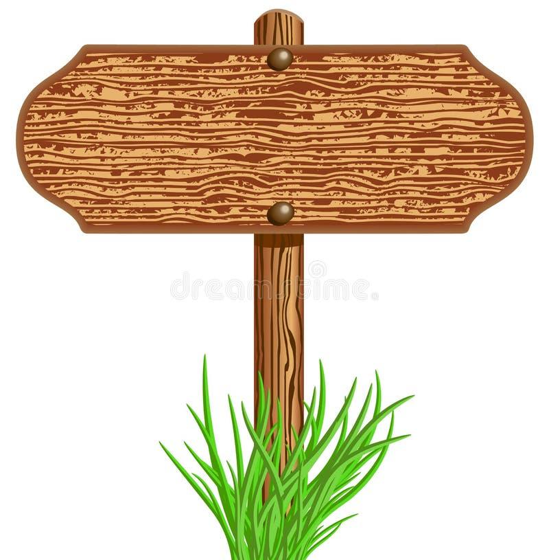 木牌和草 库存例证