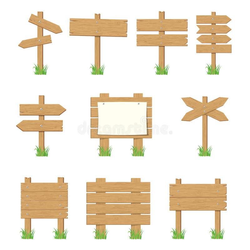 木牌,木箭头标志集合 向量例证