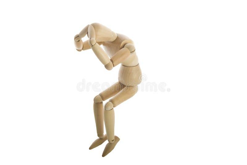 木疼痛顶头的时装模特 免版税库存照片