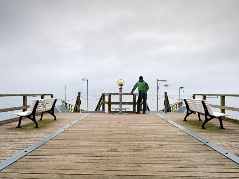 木痣的人在港口在秋天有薄雾的天之内 扶手栏杆的游人 图库摄影