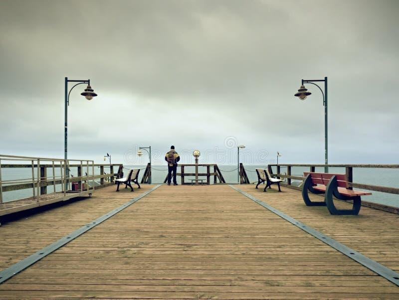 木痣的人在港口在秋天有薄雾的天之内 扶手栏杆的游人 免版税库存图片