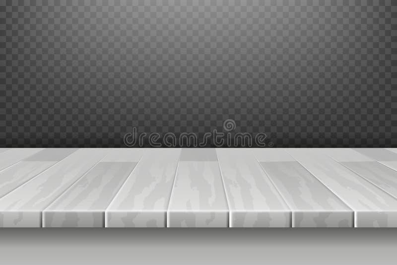 木白色书桌,在透视的台式表面对格子花呢披肩背景传染媒介例证 向量例证