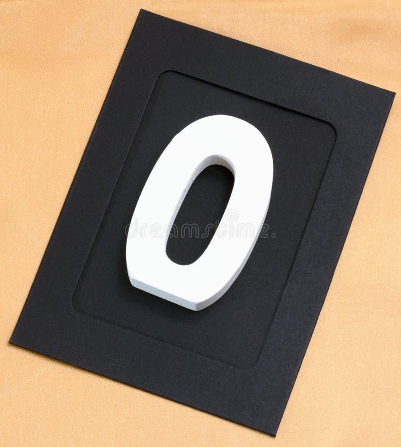 木白色在金背景的数字零的相框 库存图片