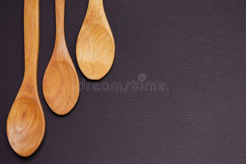 木的匙子三 免版税图库摄影