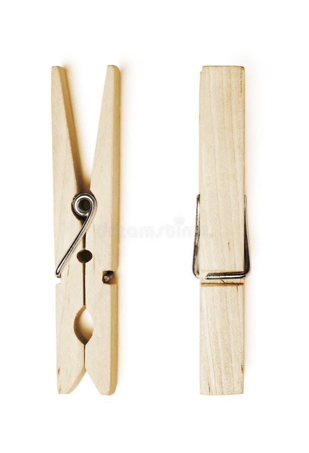 木的晒衣夹 免版税图库摄影