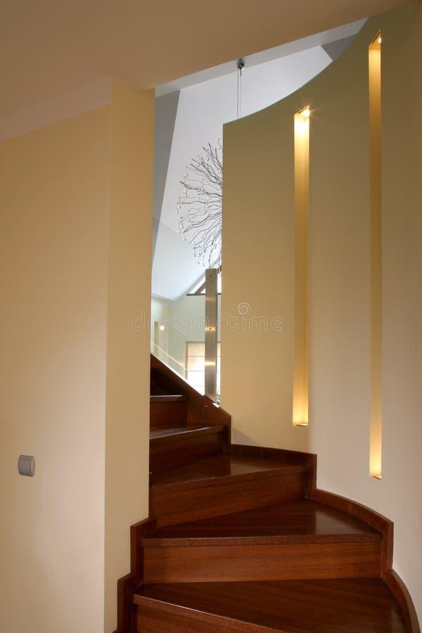 木的楼梯 免版税库存照片