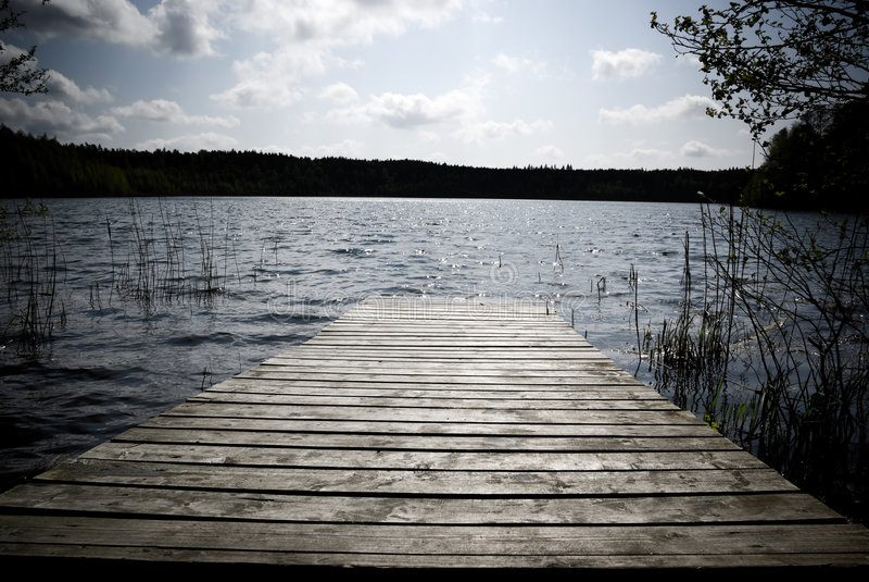木的码头 图库摄影