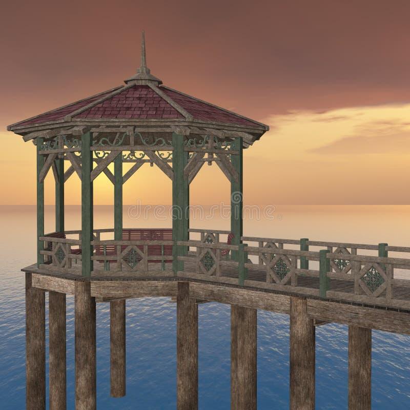 木的码头 向量例证