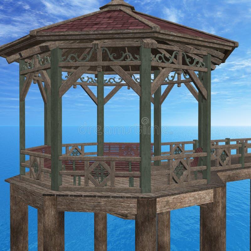 木的码头 库存例证