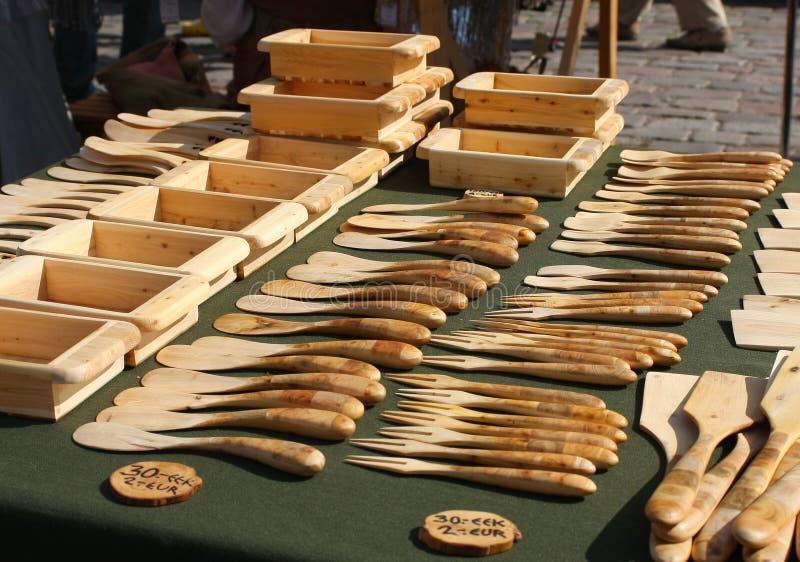 木的碗筷 图库摄影