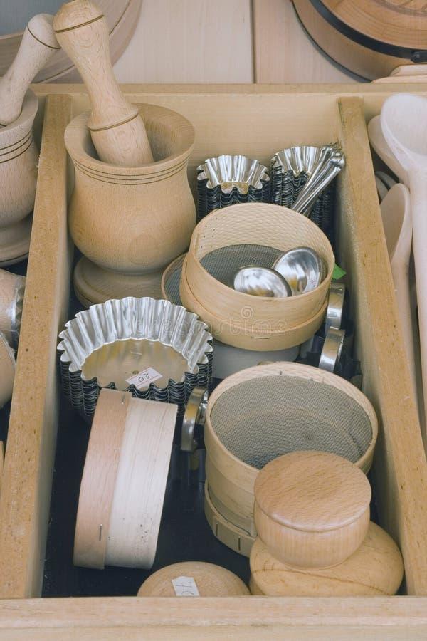 木的碗筷 库存照片