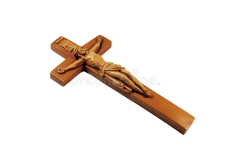 木的耶稣受难象 免版税库存照片