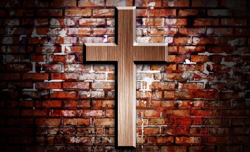 木的耶稣受难象 库存照片
