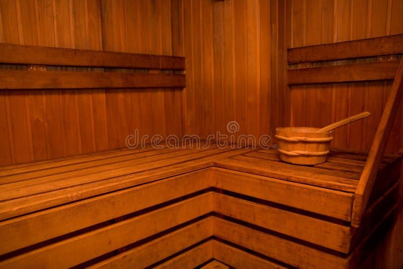 木的蒸汽浴 免版税库存图片
