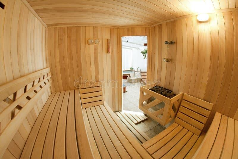 木的蒸汽浴 库存图片