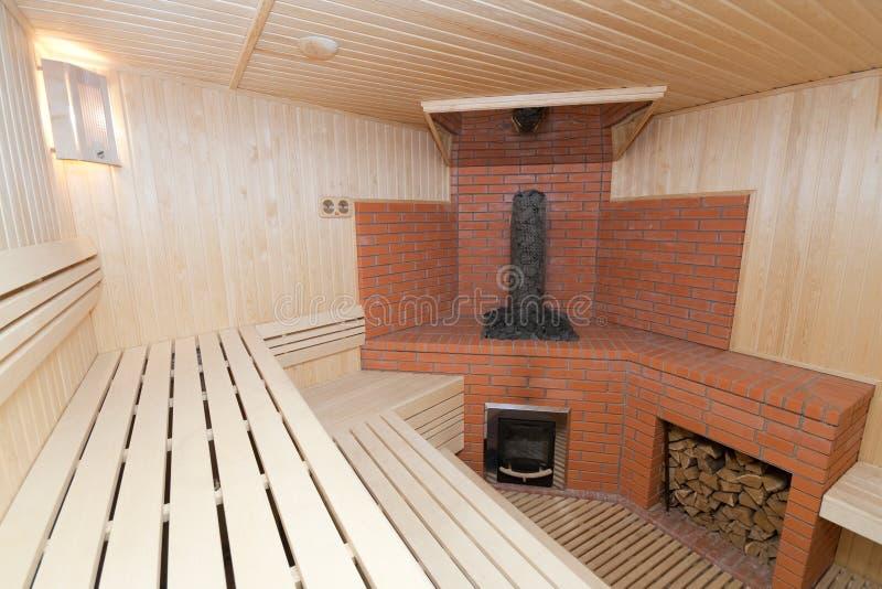 木的蒸汽浴 库存照片