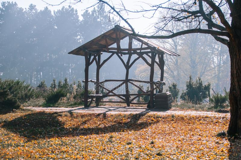 木眺望台看法在秋天公园 免版税图库摄影