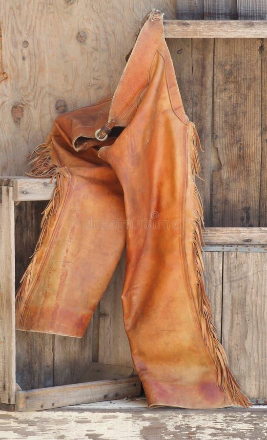 木破裂皮革老的架子 免版税库存照片