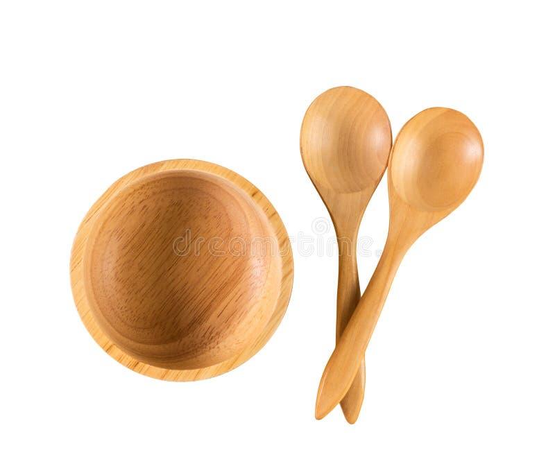 木碗和匙子 免版税库存图片