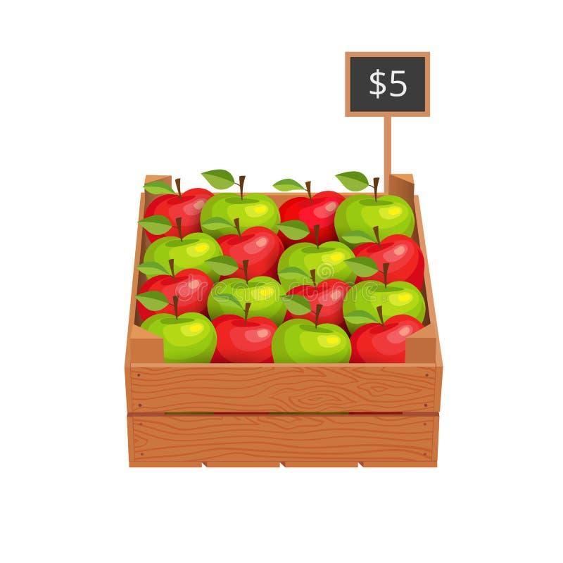 木箱用成熟苹果 皇族释放例证