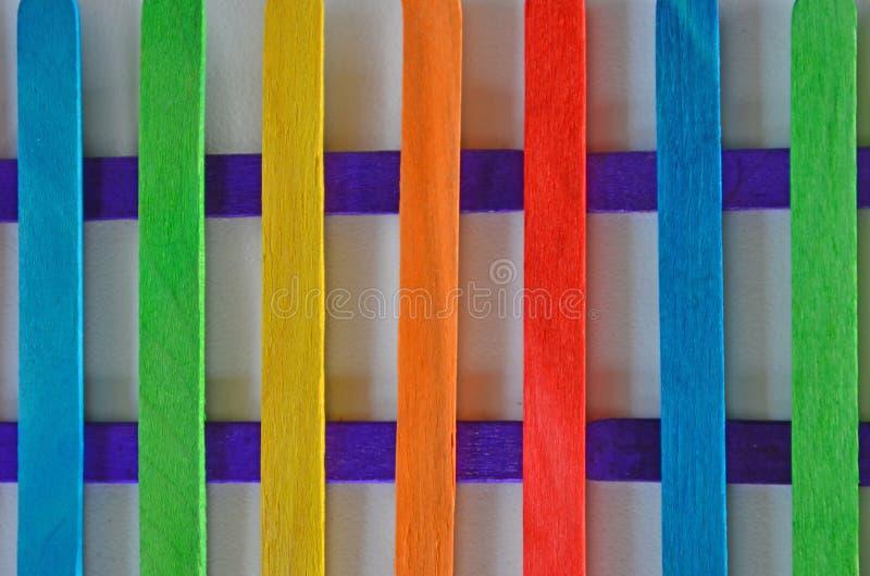 木篱芭美丽的颜色梯度板条  免版税图库摄影
