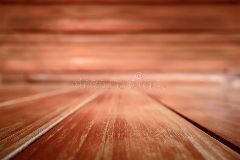木纹理和空白的背景由自然制成 老葡萄酒Planked硬木盘区内部室 空的布朗黑暗的木表 库存图片
