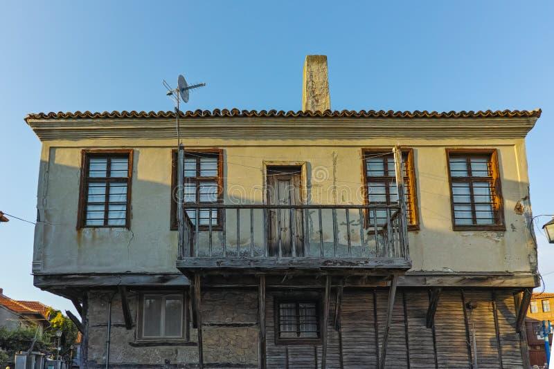 木老房子在索佐波尔镇,保加利亚 库存图片