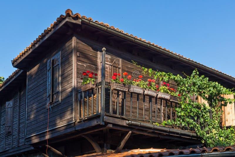 木老房子在索佐波尔镇,保加利亚 免版税库存图片