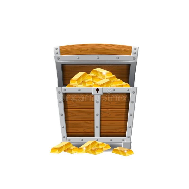 木老海盗胸口,有很多珍宝,金币,珍宝,传染媒介,动画片样式,例证,被隔绝 为 库存例证