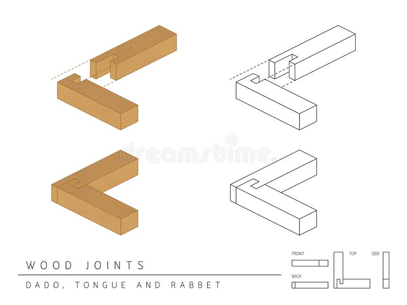 木联合集合达多、舌头和凹凸缝样式、透视3d与顶面前方和后面看法的类型隔绝在白色 向量例证